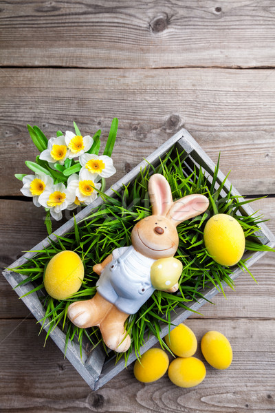 Easter holiday bunny with eggs and flowers  Stock photo © tommyandone