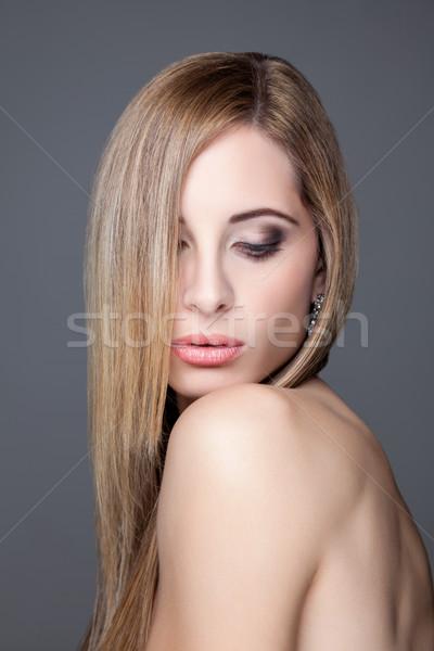 Jovem beleza cabelos lisos retrato moda Foto stock © tommyandone