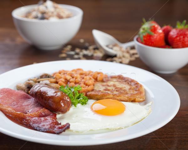 Tele angol reggeli ízletes néz étel Stock fotó © tommyandone