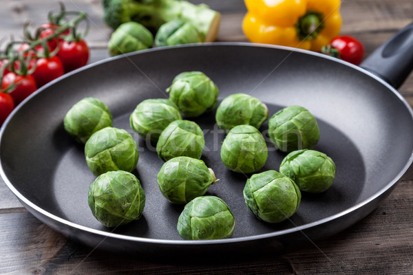 Fresh organic brussel sprouts in a frying pan Stock photo © tommyandone