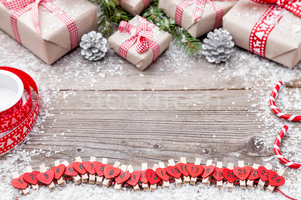 Stock photo: Christmas decoration on wooden background with copy space