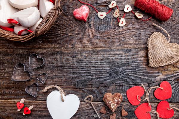 Variedad corazones rústico edad textura Foto stock © tommyandone
