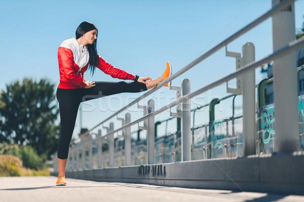 Stockfoto: Stad · training · mooie · vrouw · opleiding · stedelijke · mooie