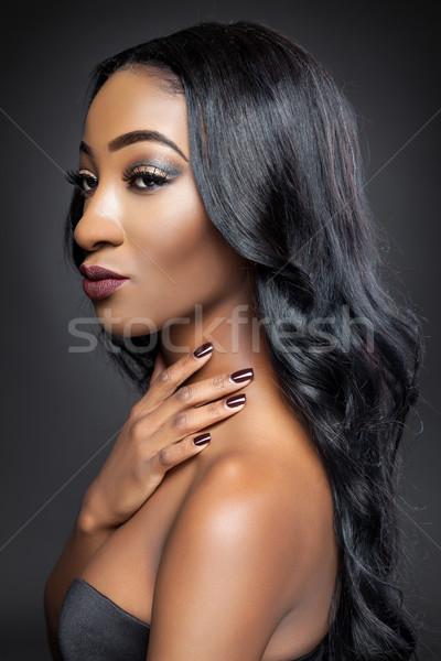 Noir beauté élégante cheveux longs jeunes longtemps Photo stock © tommyandone
