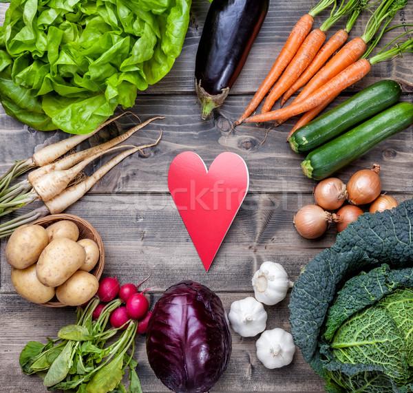 Taze organik biyo sebze ahşap gıda Stok fotoğraf © tommyandone