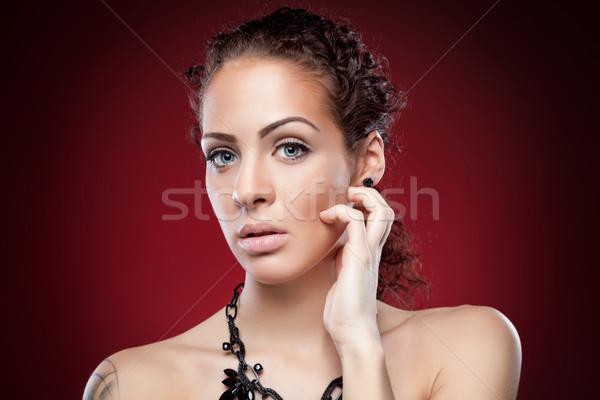 Jovem naturalismo mulher pele Foto stock © tommyandone