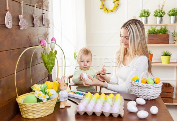 イースター 幸せ 母親 かわいい 子 準備 ストックフォト © tommyandone