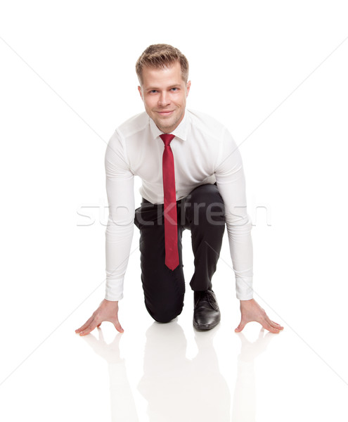 Businessman ready for chasing deals Stock photo © tommyandone