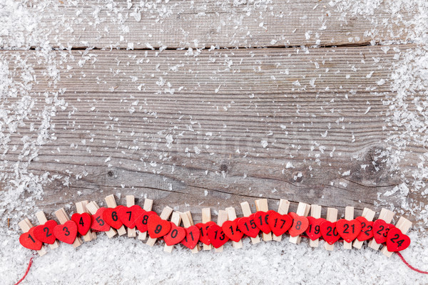 Christmas advent calendar with snow Stock photo © tommyandone
