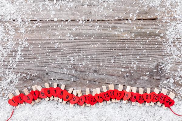 Weihnachten Aufkommen Kalender Schnee traditionellen Holz Stock foto © tommyandone