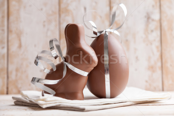 Delicious chocolate Easter bunny and eggs   Stock photo © tommyandone