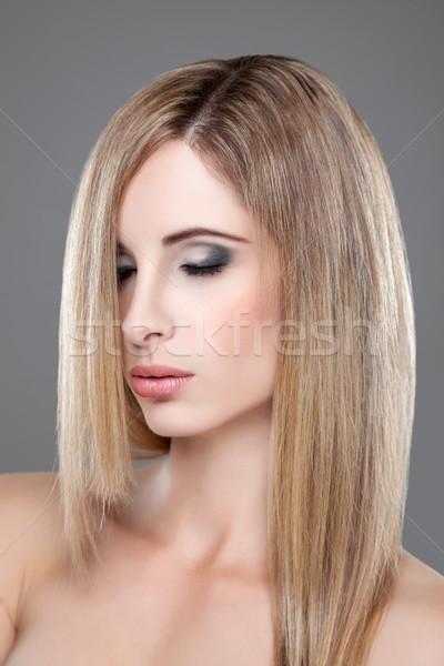 小さな ブロンド 美 ストレートヘア 肖像 ファッション ストックフォト © tommyandone