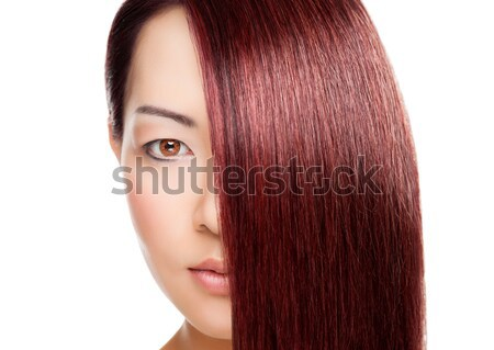 Beautiful Woman With Long Elegant Straight Hair Stock