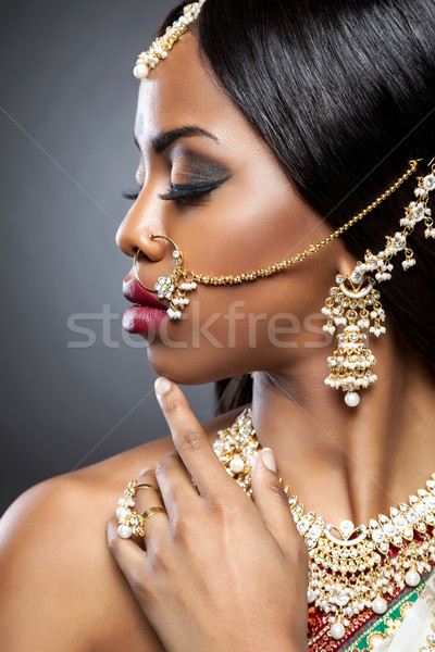 Exotic Indian bride dressed up for wedding  Stock photo © tommyandone