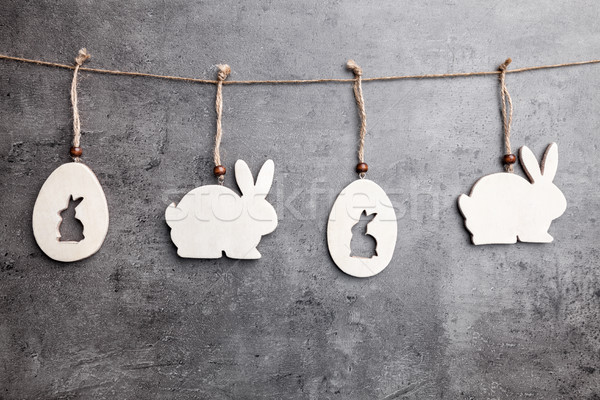 Easter decoration bunnies hanging on a string  Stock photo © tommyandone