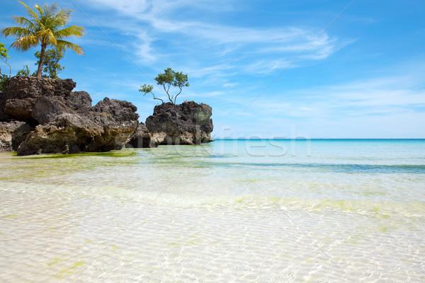 Raj plaży piękna wody krajobraz tle Zdjęcia stock © tommyandone