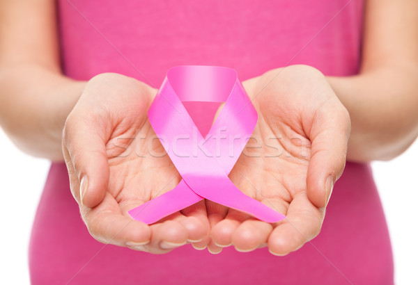 Woman with breast cancer awareness ribbon Stock photo © tommyandone