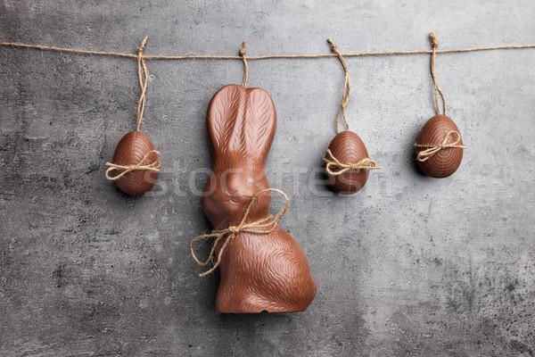 Stockfoto: Heerlijk · Pasen · chocolade · bunny · eieren · opknoping