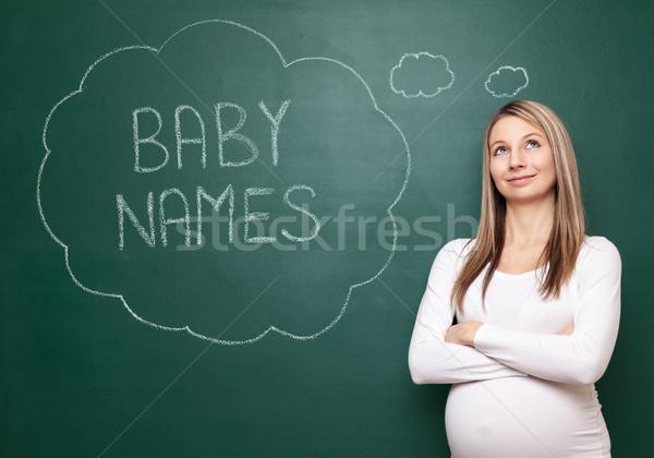 Választ helyes név baba terhes nő választ Stock fotó © tommyandone