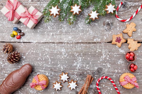 Natal decoração comida neve tradicional chocolate Foto stock © tommyandone