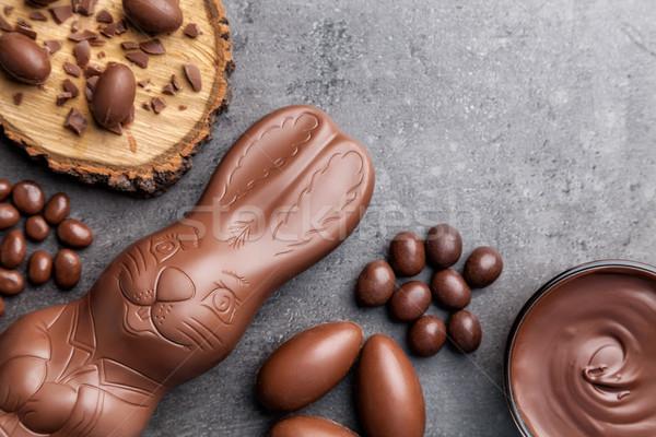 Schokolade Osterhase Eier Holz Ostern Stock foto © tommyandone