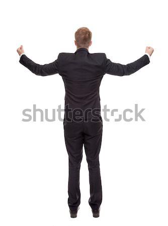 бизнесмен оружия изолированный белый Сток-фото © tommyandone