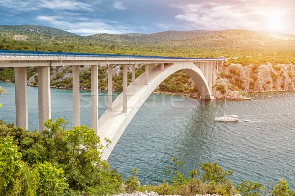 живописный мнение моста ведущий старый город Хорватия Сток-фото © tommyandone