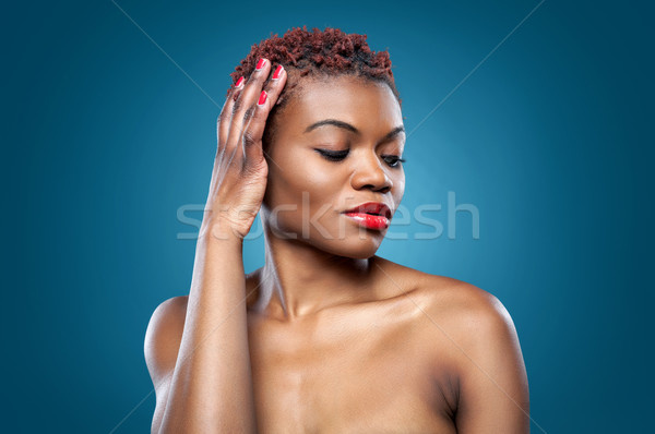 Black beautiful woman with short hair Stock photo © tommyandone