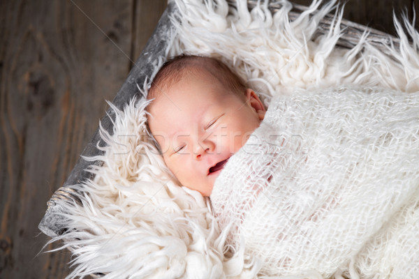 Beautiful newborn inside a basket Stock photo © tommyandone