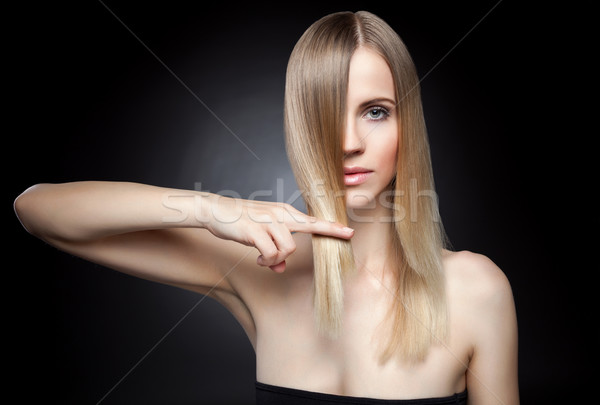 Beautiful lady with straight hair Stock photo © tommyandone