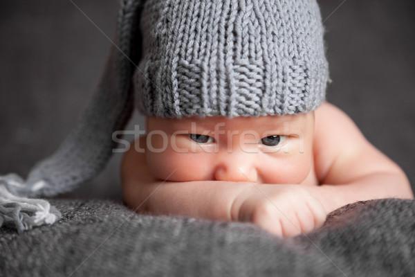 美しい 着用 かわいい グレー 帽子 ストックフォト © tommyandone