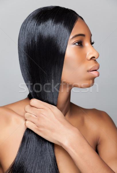 Stockfoto: Mooie · zwarte · vrouw · lang · steil · haar · jonge · vrouw