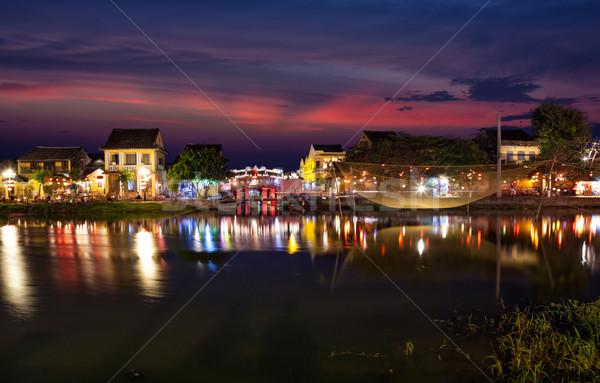 歴史的 市 ベトナム 1泊 水 日没 ストックフォト © tommyandone
