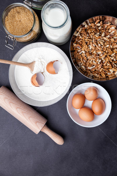 Baking and cooking concept, variety of ingredients and utensils Stock photo © tommyandone