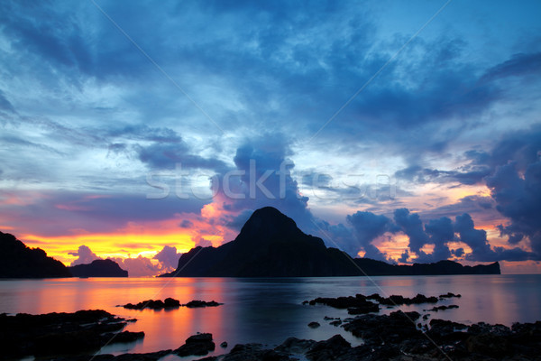 Beautiful sunset in El Nido Stock photo © tommyandone