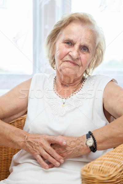 портрет пожилого Lady сидят Председатель 70-х годов Сток-фото © tommyandone