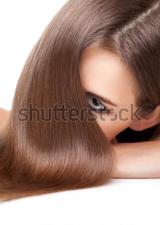 Beautiful brunette with long straight and shiny hair Stock photo © tommyandone