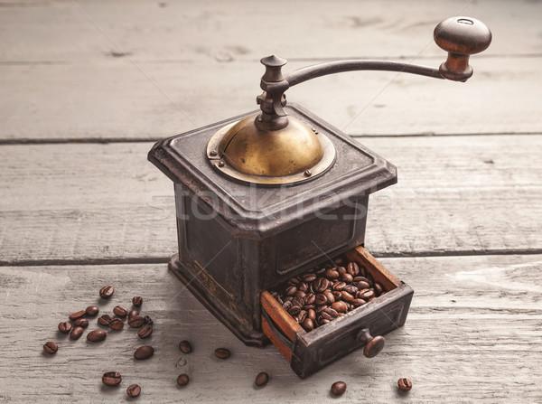 Foto stock: Vintage · café · mesa · de · madeira · madeira · metal