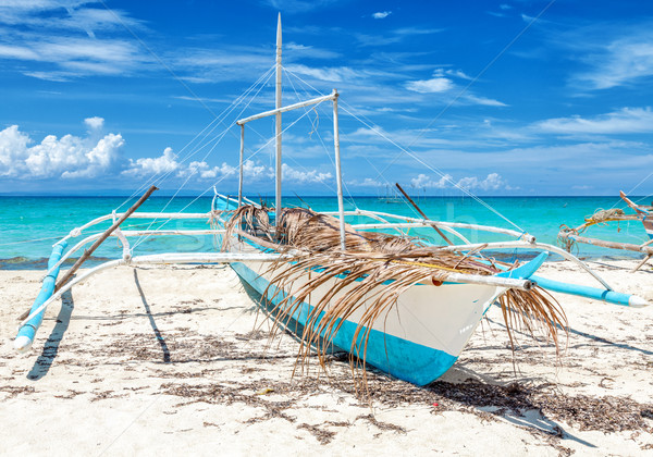 Philippines fishing boat on a beautiful beach Stock photo © tommyandone