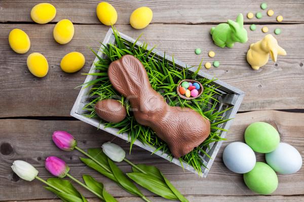 Traditionnel Pâques décoration fleurs oeufs printemps Photo stock © tommyandone
