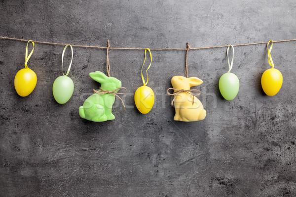 Paaseieren opknoping rustiek traditioneel Pasen voorjaar Stockfoto © tommyandone