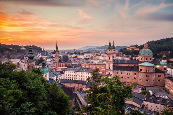 Panorâmico ver belo Áustria cidade pôr do sol Foto stock © tommyandone