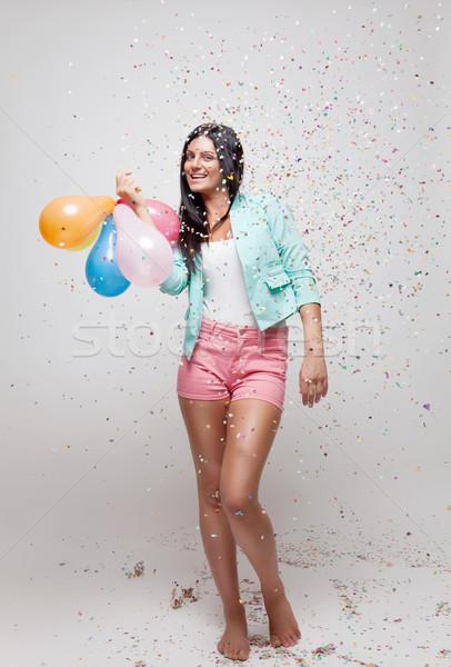 Fiatal gyönyörű nő buli hangulat konfetti összes Stock fotó © tommyandone