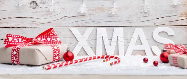 Natale decorazione legno tradizionale felice luci Foto d'archivio © tommyandone