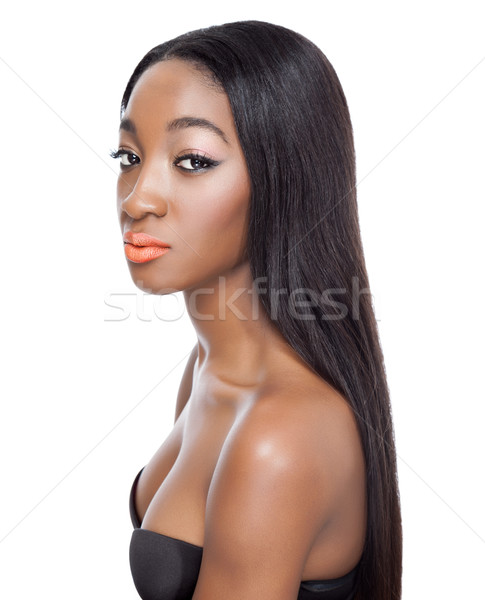 Beauty with long straight hair Stock photo © tommyandone