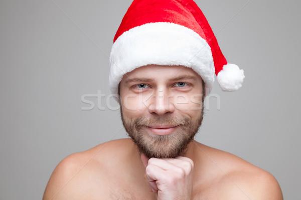красивый мужчина борода Рождества Hat портрет Сток-фото © tommyandone