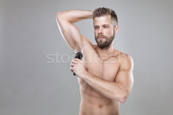 Knap bebaarde man af lichaam Stockfoto © tommyandone