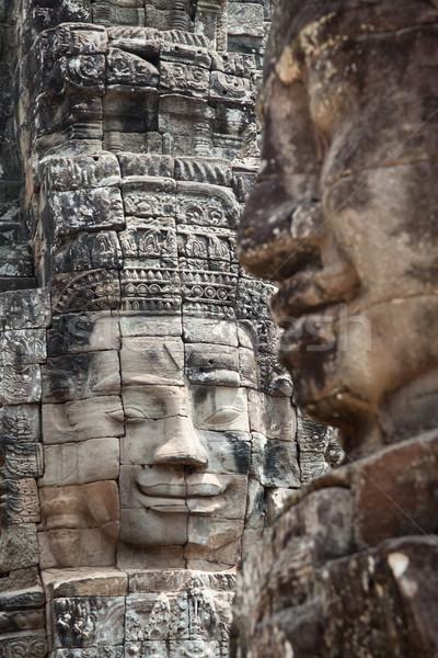 Faces of Bayon temple Cambodia Stock photo © tommyandone