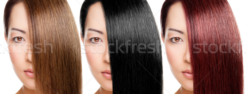 Beautiful woman with 3 versions of hair colour Stock photo © tommyandone