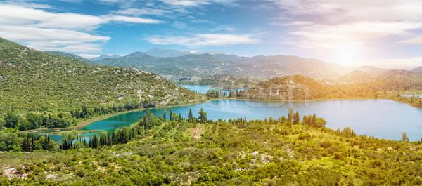 Panoramique vue lac Croatie belle eau Photo stock © tommyandone